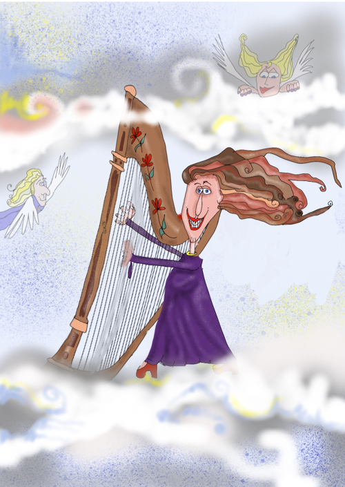 Cartoon Print Card of Harpist Anne Roos
