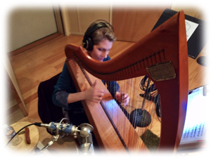 Harpist Anne Roos Playing in Recording Studio