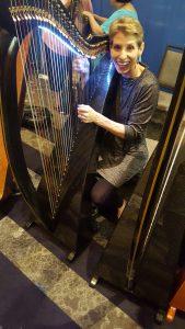 Harpist Anne Roos playing at Somerset Folk Harp Festival