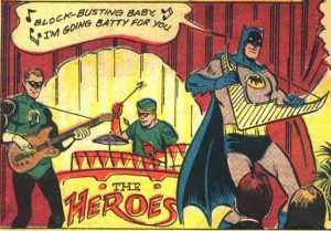Batman playing harp