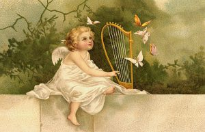 Angel attracting butterflies with the harp