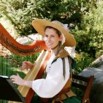 Celtic harpist Anne Roos in Renaissance period cosutme
