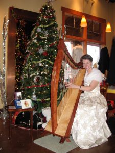 Harpist Anne Roos playing at the Christmas Tree