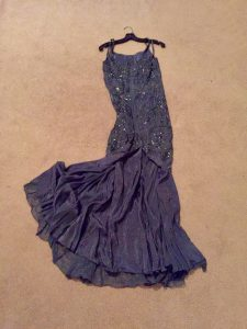 Harpist Anne Roos' Blue Gown