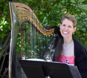 Harpist Anne Roos Smiling