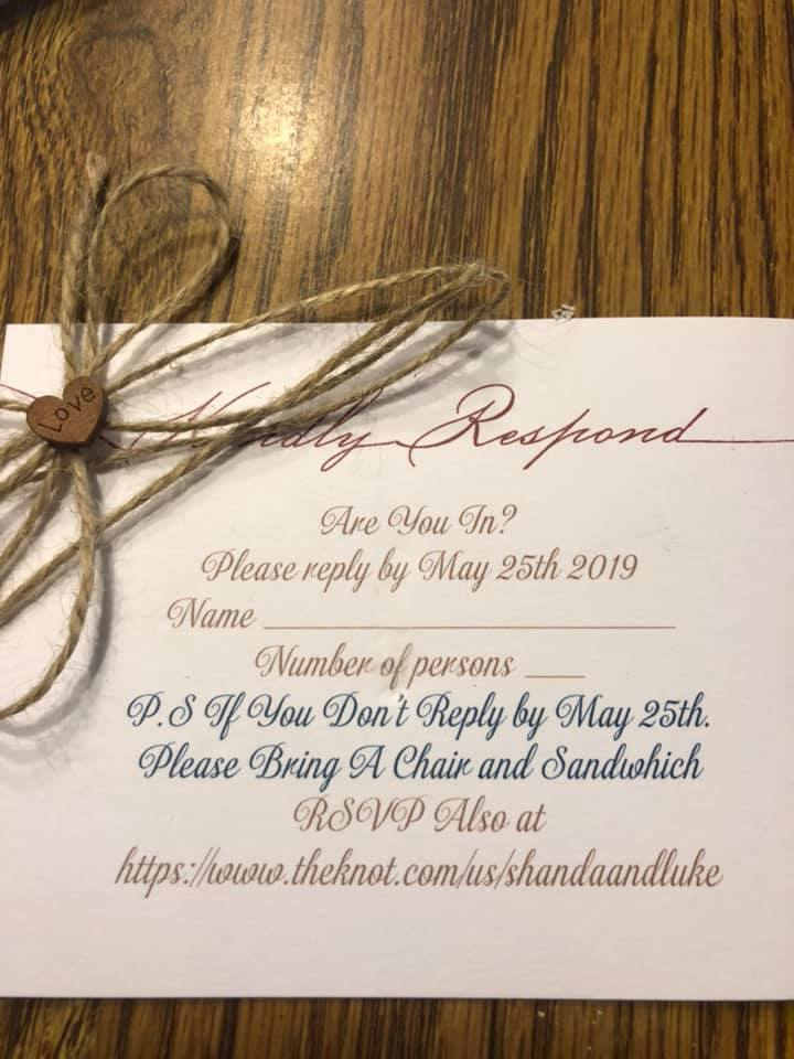 RSVP Card--Bring a Chair