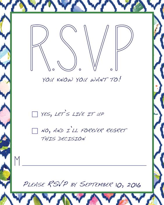 RSVP Card--Live It Up!