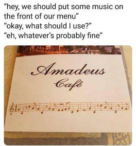 Amadeus Cafe Menu Music